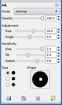 Ink Tool options