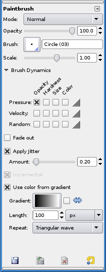 Paintbrush tool options