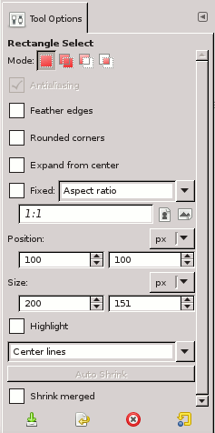 Tool Options for the Rectangle Select tool