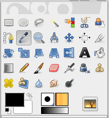 The Color Picker in the toolbox (eye dropper icon)