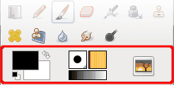 Color and Indicator Area in the Toolbox