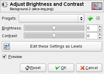 Brightness-Contrast options dialog