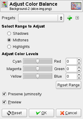 Color Balance options
