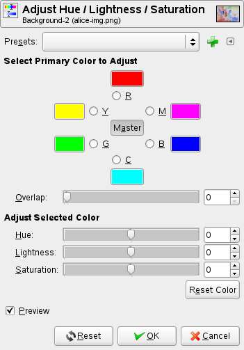 Hue-Saturation tool options
