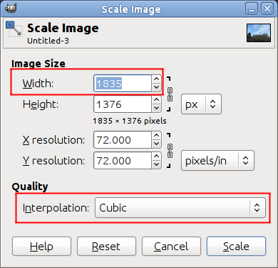 Dialog for Image Scaling in Pixels