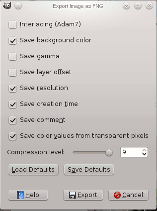 The Export Image as PNG dialog