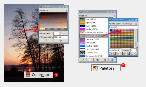 Colormap dialog (1) and Palette dialog (2)