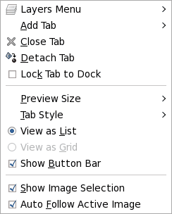 The Tab menu of the Layers dialog.