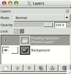 Layers dialog showing a floating selection.