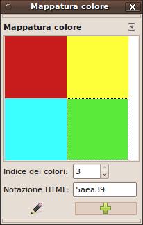 Un'immagine indicizzata di 6 colori e la sua finestra mappa colori