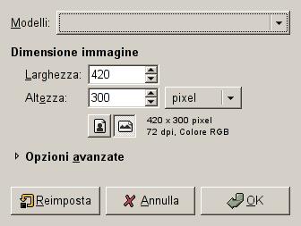La finestra di dialogo Nuova immagine